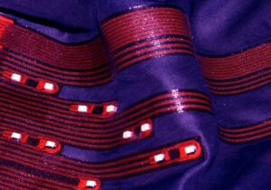 Fraunhofer IZM - Low-temperature soldered LEDs on stretchable circuit board that is laminated onto textile